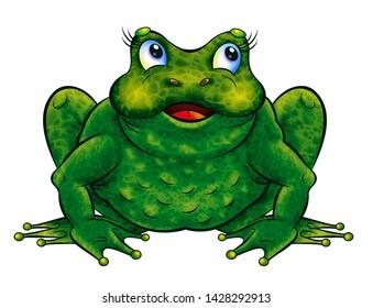Illustration in cartoon style, funny animals, frog