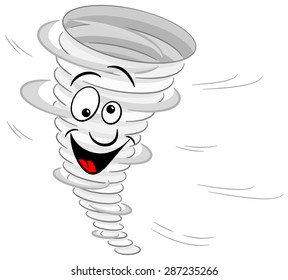 illustration of a cartoon tornado on white background