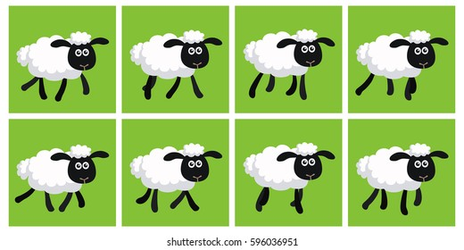 Illustration of cartoon trotting sheep sprite sheet. Can be used for GIF animation