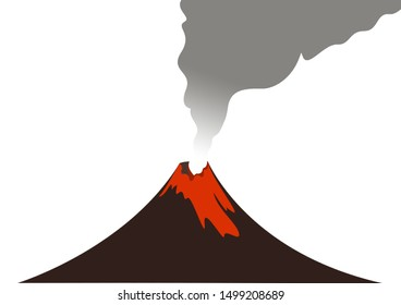 Illustration of cartoon volcano eruption with hot lava.