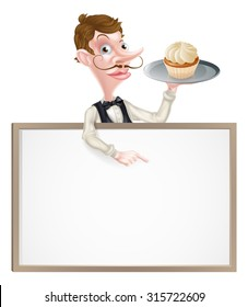 An illustration of a cartoon waiter holding a tray with a cake on it  and pointing at a signboard