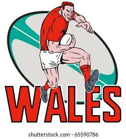 """illustration of a Cartoon Welsh Rugby player running fending off  with ball in background and words """"Wales"""""""
