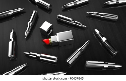 Illustration of cartridges with lipstick on dark a background