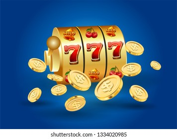 Illustration, Casino element isolation, Slot machine with the Big Lucky Jackpots, Poker card and Golden USD coin floating over colorful background