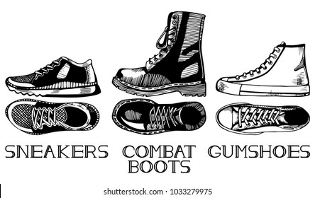 illustration of casual shoes set in old fashioned vintage engraving style top and side view. Sneakers, Gumshoes, combat boots