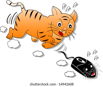 illustration of a cat chasing a computer mouse