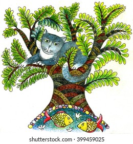 Illustration of cat on the tree, little lake with two fishes, drawn manually