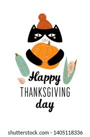 an illustration of a cat in a terracotta hat with a pompon which holds in its paws a large orange pumpkin and next to it is a green squash and an ear of corn. text Happy Thanksgiving day
