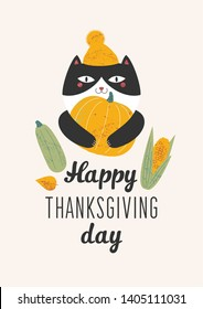 an illustration of a cat in a yellow hat with a pompon which holds in its paws a large yellow pumpkin and next to it is a green squash and an ear of corn. text Happy Thanksgiving day