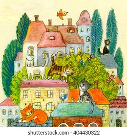 Illustration of cats on the roof