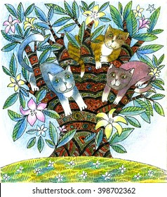 illustration of cats on the tree, handmade painting