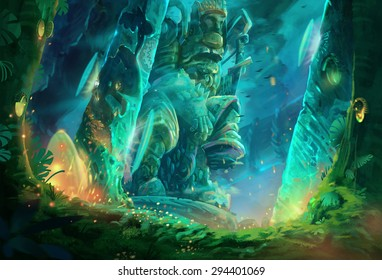 Illustration: A cave full of mysterious and forbidden aura. It must be a tomb of an ancient king. Removed the characters. Fantastic / Realistic / Cartoon Style, Wallpaper / Background / Scene Design.