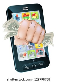 An illustration of a cell phone with a fist full of dollars coming out of the screen