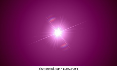 Illustration of centered bright white light with flares and rainbow reflection on pink vignetted background