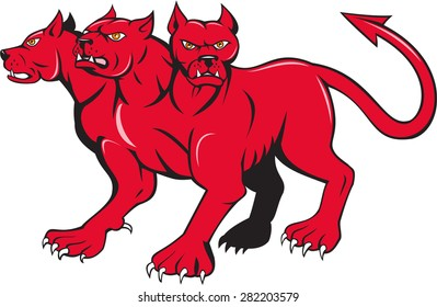 Illustration of cerberus, in Greek Roman mythology, a multi-headed usually three-headed dog or hellhound with a serpent's tail and  lion's claws done in cartoon style.