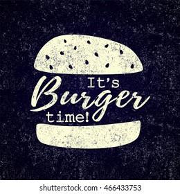 Illustration of chalk drawn burger. Grunge Fast food pattern.Retro background.