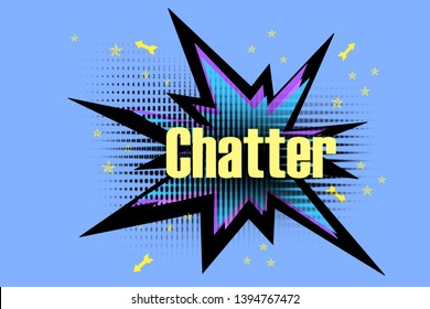 Illustration Chatter Text/quote - Star explosion icon/symbol/sign/logo/silhouette - Colorful and multicolored pop art style comic spiked bubble with news - banner/poster/cover/card concept