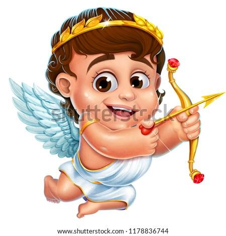 Illustration of cheerful cupid
