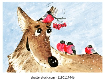illustration with cheerful dog and bullfinches