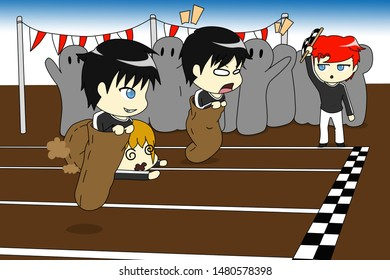 Illustration of chibi anime boys doing a sack race