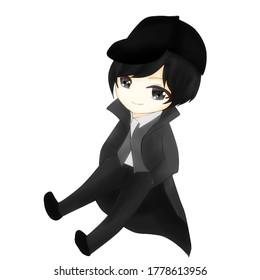 Illustration Chibi Detective Wearing Hat