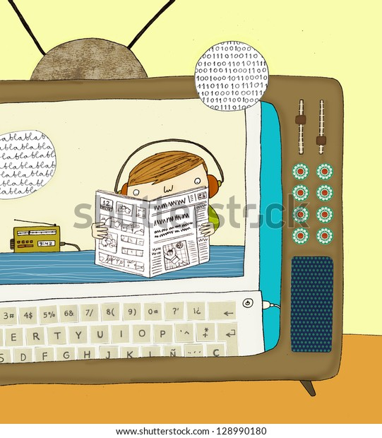 illustration of child connected to mass media