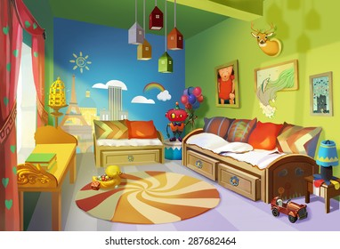 Illustration: Child Room version 1 - Scene Design - Fantastic/Realistic Style