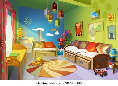 Illustration: Child Room version 2 - removed the deer head & turn the light on - Scene Design - Fantastic/Realistic Style