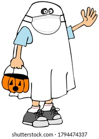 Illustration of a child wearing a ghost costume and carrying a jack-o-lantern while wearing a face mask.