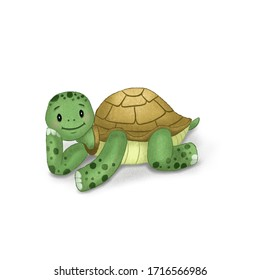 Illustration for children. Cute turtle.