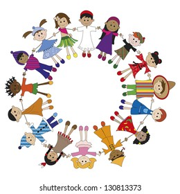 illustration of children of different nationalities