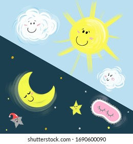 Illustration for children on the theme of day and night, the sun with clouds and the moon with stars