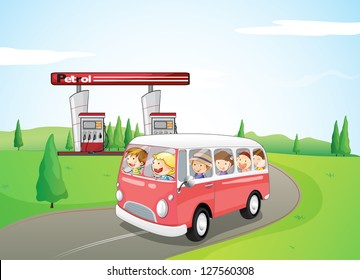Illustration of a children riding on a bus wearing happy faces looking at the beautiful view