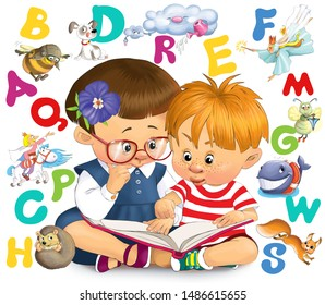 Illustration. Children are studying a book. Around them are multi-colored letters and various fairy-tale characters.