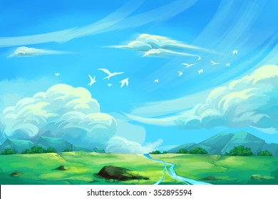 Illustration For Children: The Super Clear Blue Sky. Realistic Fantastic Cartoon Style Artwork / Story / Scene / Wallpaper / Background / Card Design