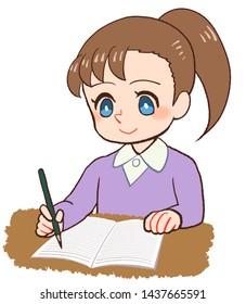 illustration of Children writing note