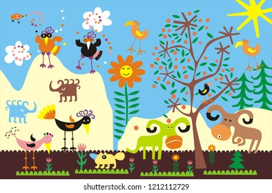Illustration for the children's room - a flat colorful children's picture, imitation of application with colored paper. Funny birds, animals, flowers, the sun, trees, the sky and clouds.