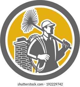 Illustration of a chimney sweep holding sweeper and rope viewed from side set inside circle on isolated background done in retro style.