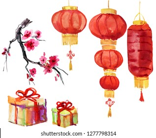 illustration of Chineese Lanters decoration colorful fun set