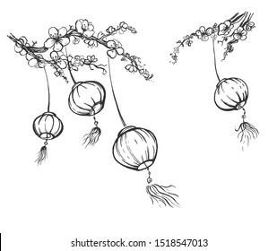 illustration of chinese festival sky lanterns set. Hanging on blossoming sakura tree branches paper lantern Kongming fairy lights swaying on wind bring luck and peace. Vintage hand drawn style.