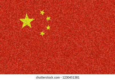 Illustration of a Chinese flag with a blossom pattern
