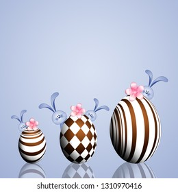 an illustration of chocolate Easter eggs with bunnies