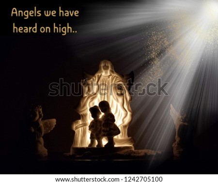 Illustration of Christmas angel lit up with children silhouettes, two angels  to side and white - Royalty Free Stock Illustration Of Illustration Christmas Angel Lit