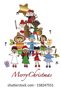 illustration for christmas with children