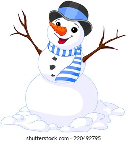 Illustration of Christmas cute snowmen