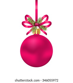 Illustration Christmas Pink Ball with Bow Ribbon and Fir Twigs, Isolated on White Background - raster