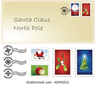 Illustration of christmas santa letter and stamps and postage marks