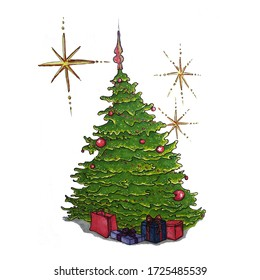 illustration of christmas tree markers with gifts