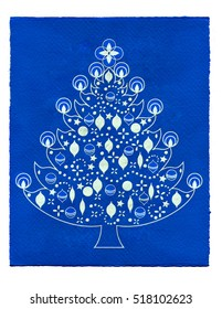 Illustration of a christmas tree on blue paper background.