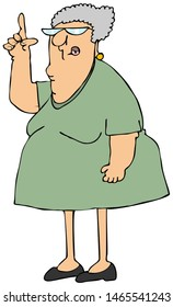Illustration of a chubby elderly woman wearing a green dress pointing up with her finger.